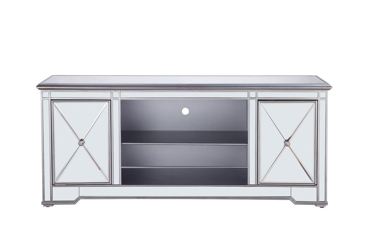 Elegant Decor Modern Silver 60 Inch Mirrored Tv Stand