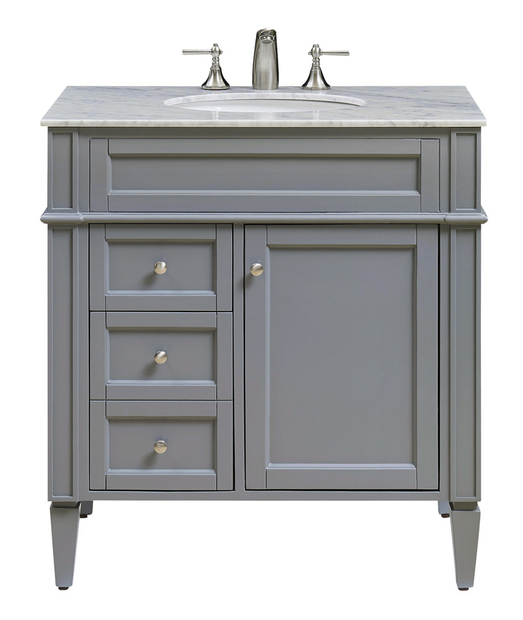 Grey 32 Inch Single Bathroom Vanity Set