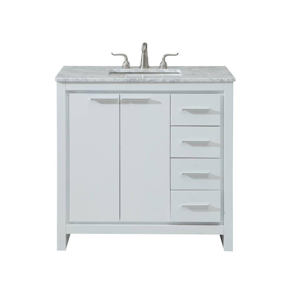 ... White 36 Inch Single Bathroom Vanity Set. New