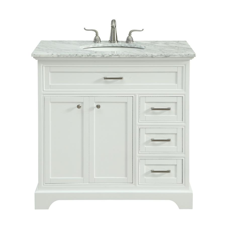 Elegant Decor Americana White 36 Inch Single Bathroom Vanity Set