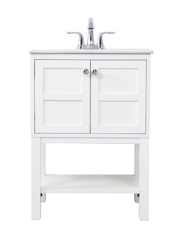 Elegant Decor Mason White 24 Inch Single Bathroom Vanity Set