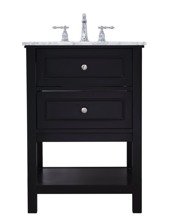 Elegant Decor Metropolis Black 24 Inch Single Bathroom Vanity Set