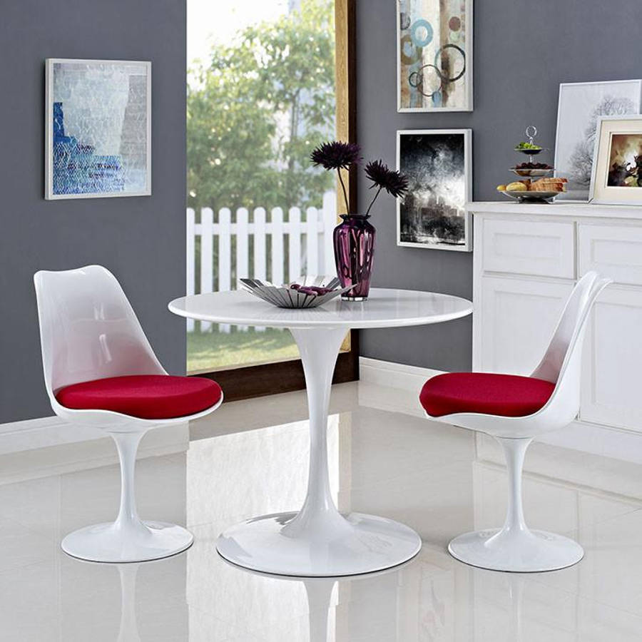 Edgemod Furniture Daisy White Red 3pc Dining Room Set