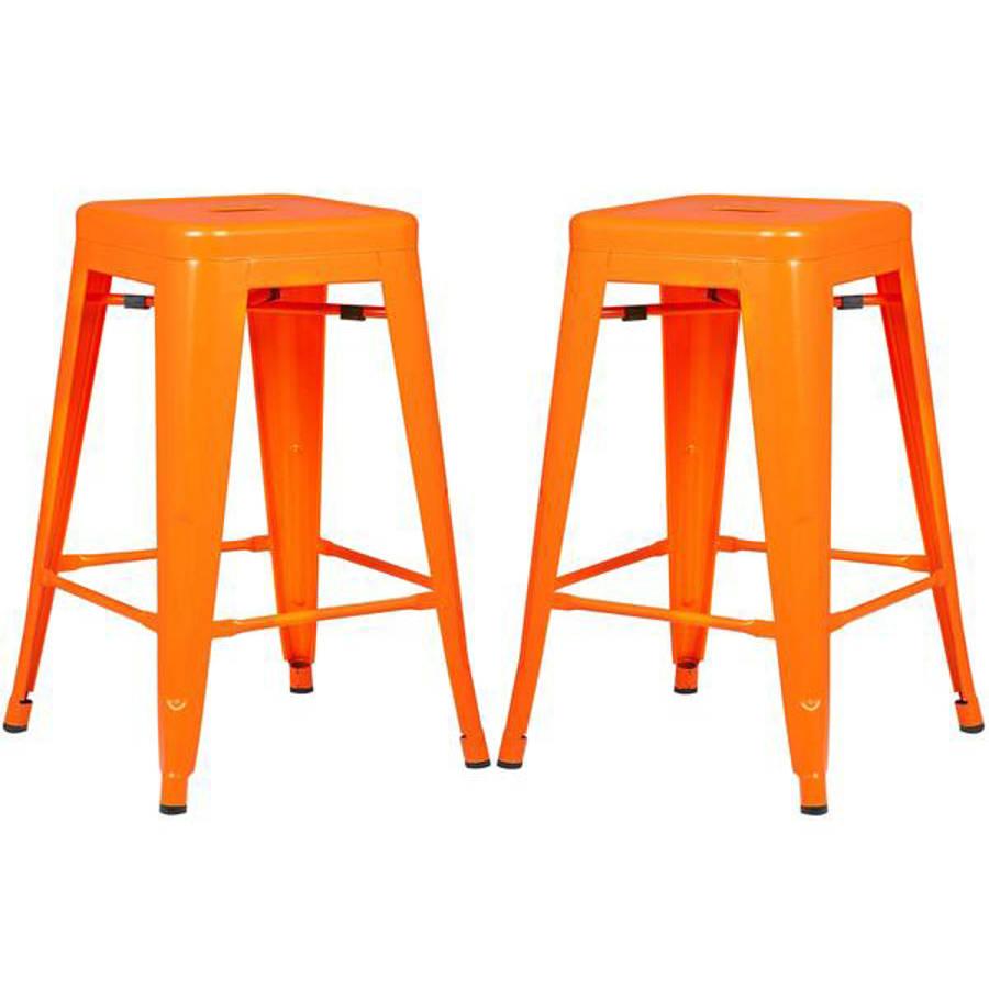 2 Edgemod Furniture Trattoria Orange 24 Inch Counter Height Stools