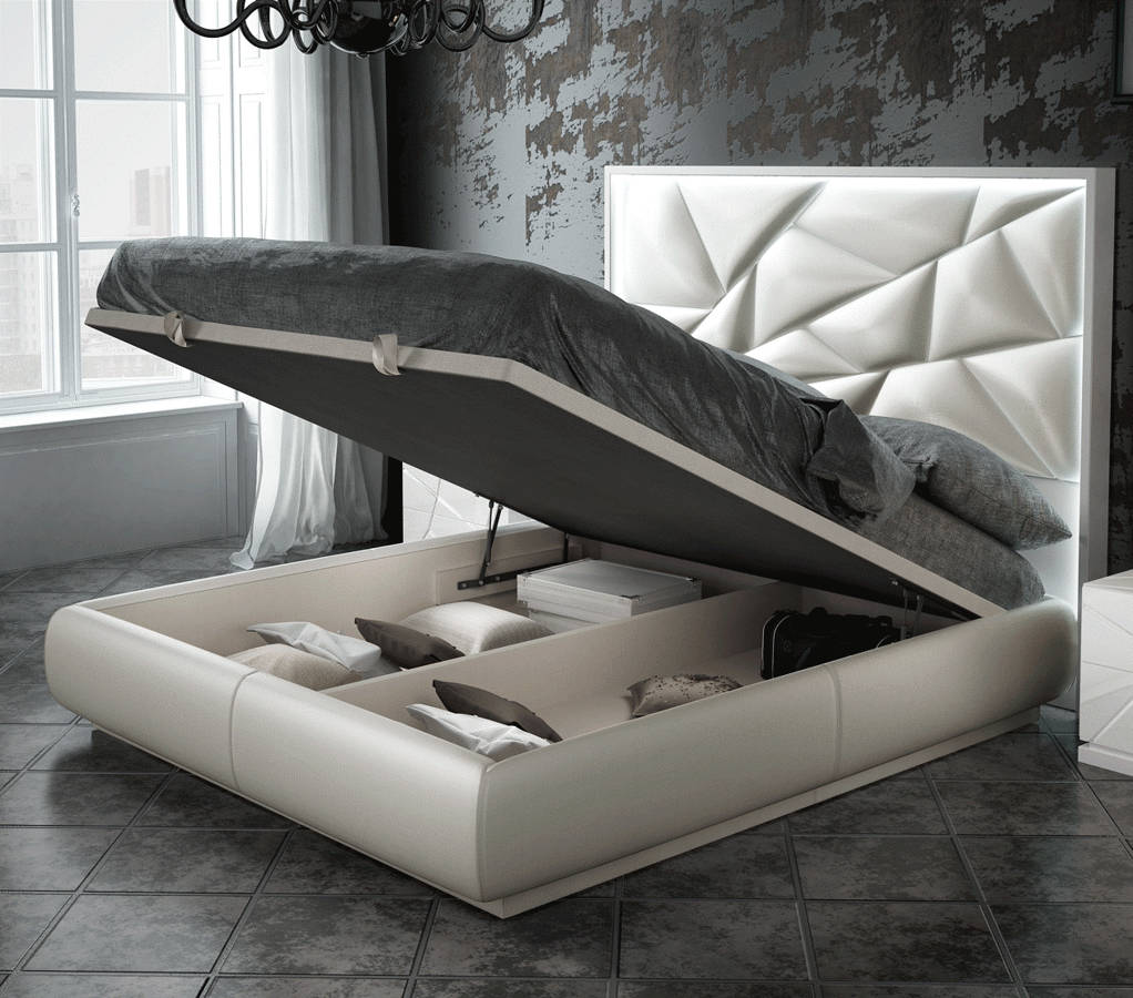 Esf Franco Spain Kiu White Queen Storage Bed With Light The Classy