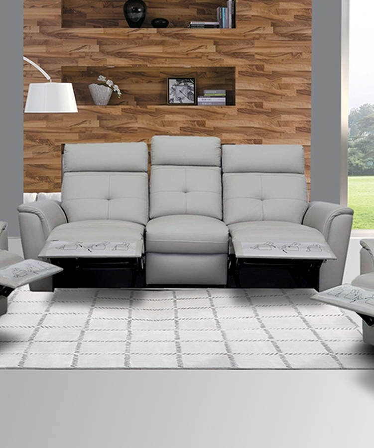 ESF Extravaganza 8501 Light Grey Leather Recliner Sofa