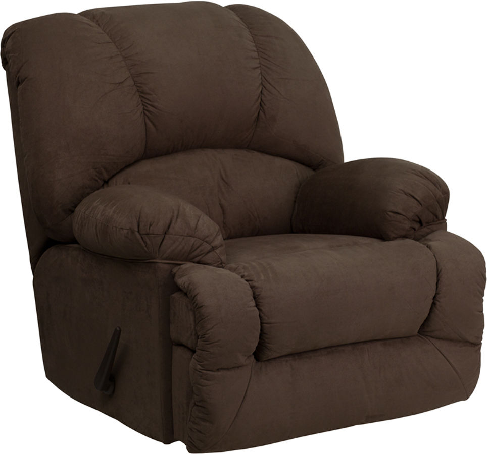 Glacier brown microfiber chaise rocker recliner the for Brown microfiber chaise lounger