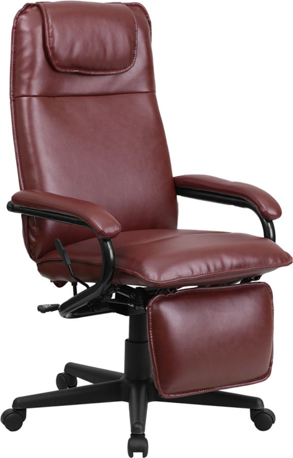 Flash furniture burgundy leather executive reclining for Home office chairs leather