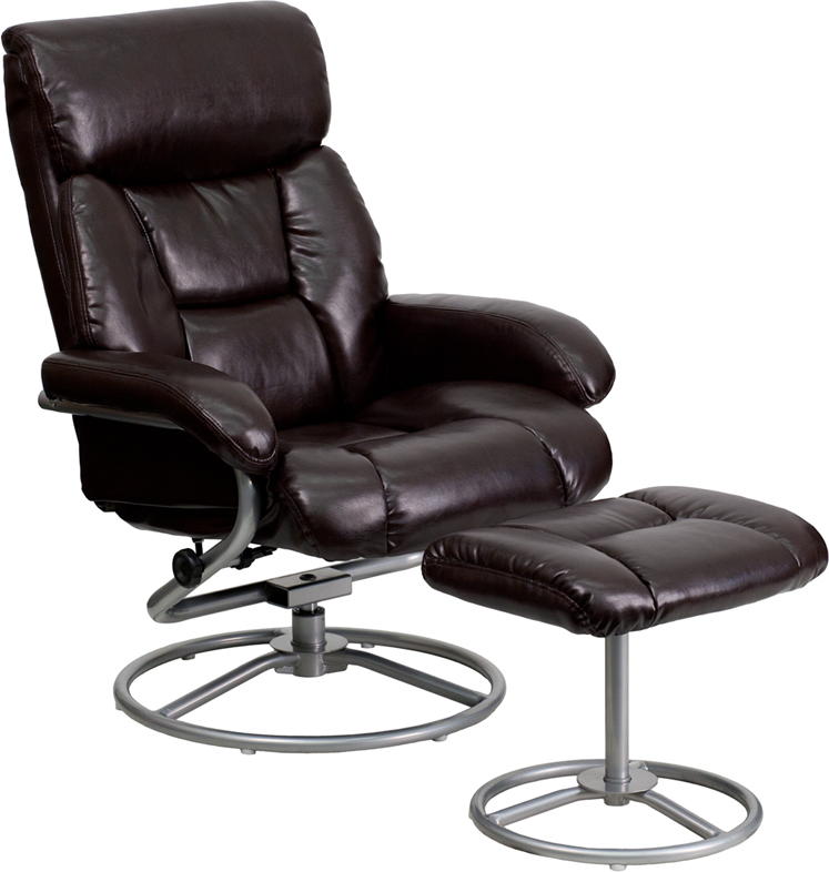 Flash Furniture Brown Leather Recliner And Ottoman With Metal Base | The  Classy Home