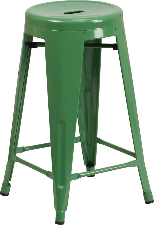 Flash Furniture 24 Inch High Backless Green Metal Indoor