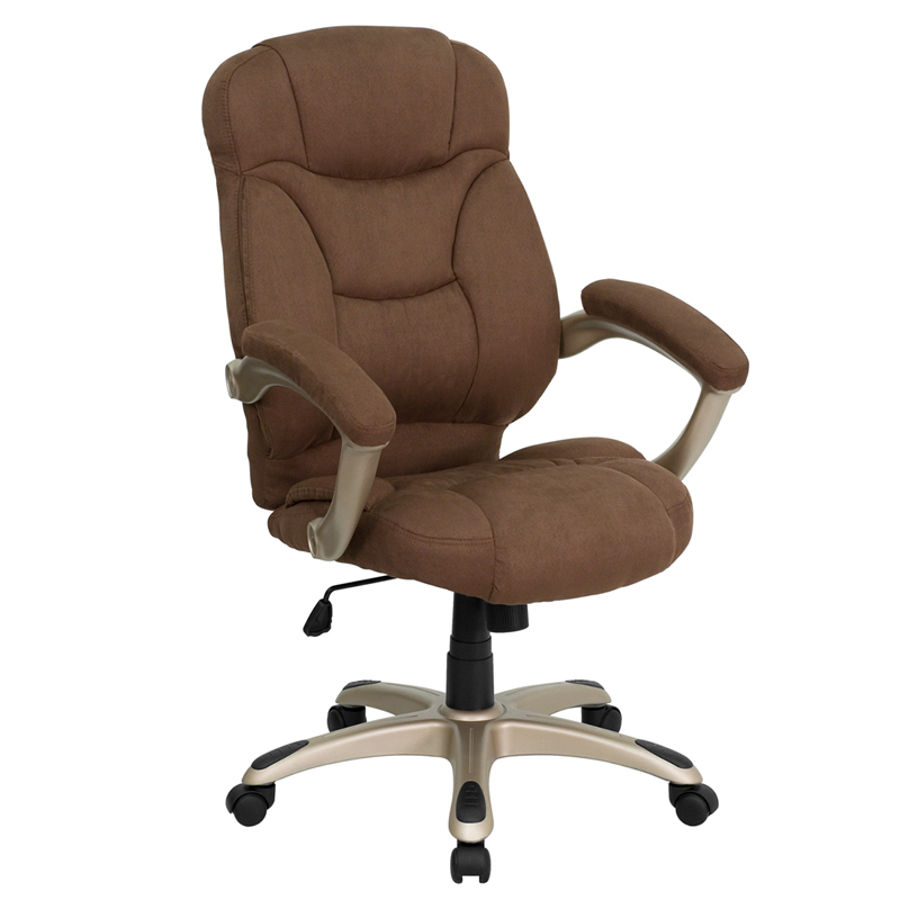 Details About High Back Brown Microfiber Upholstered Contemporary Office  Chair
