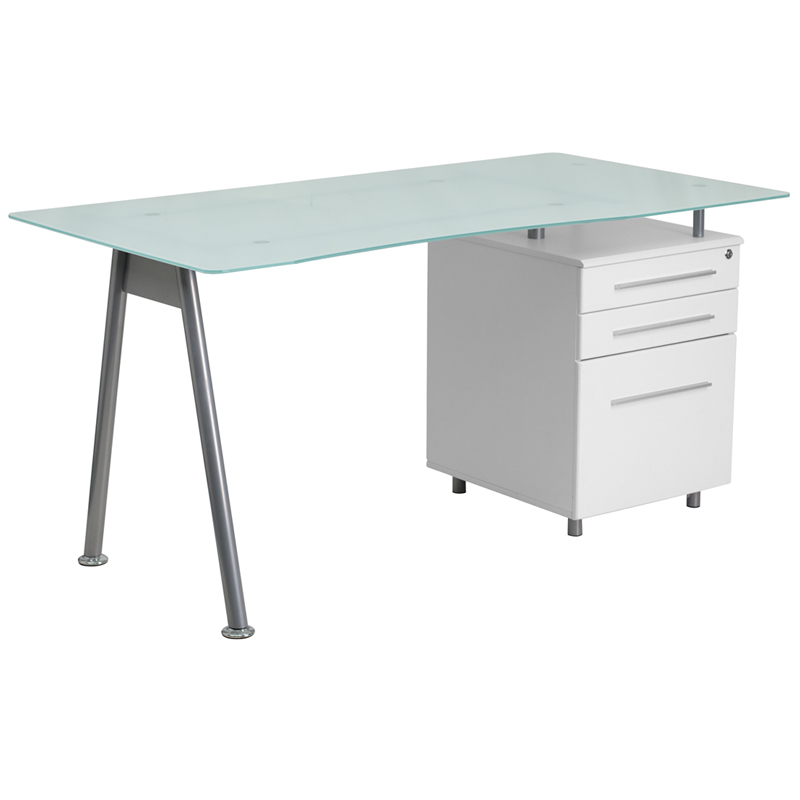 Flash Furniture White Computer Desk With Glass Top And