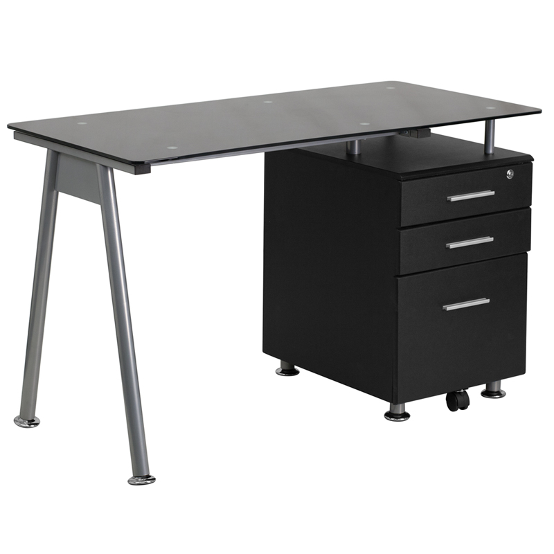 Flash Furniture Black Glass Computer Desk With Three