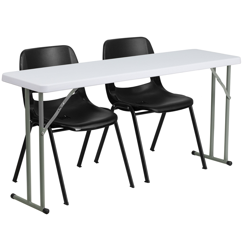 Surprising Flash Furniture 18 X 60 Plastic Folding Training Table With 2 Black Plastic Chairs Andrewgaddart Wooden Chair Designs For Living Room Andrewgaddartcom