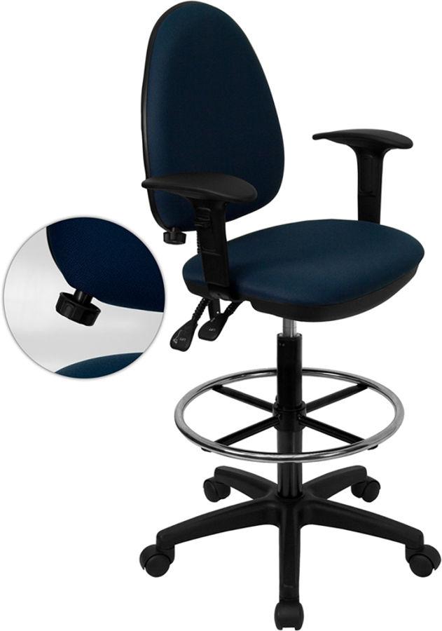 Flash Furniture Navy Blue Multi-Functional Drafting Stool ...