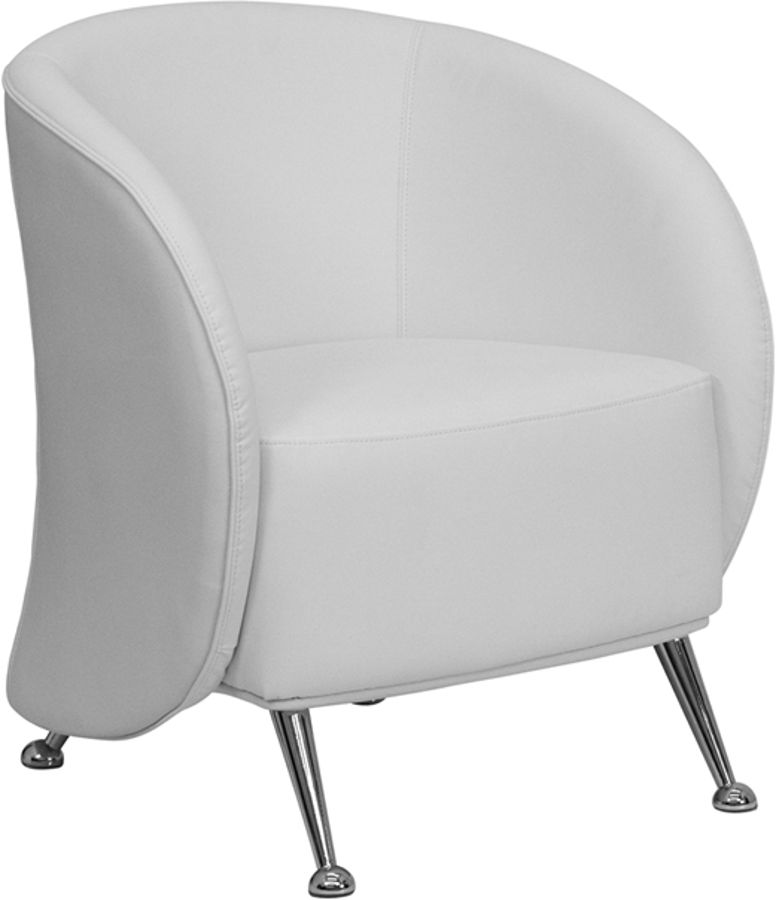 Hercules Jet Series White Leather Reception Chair The
