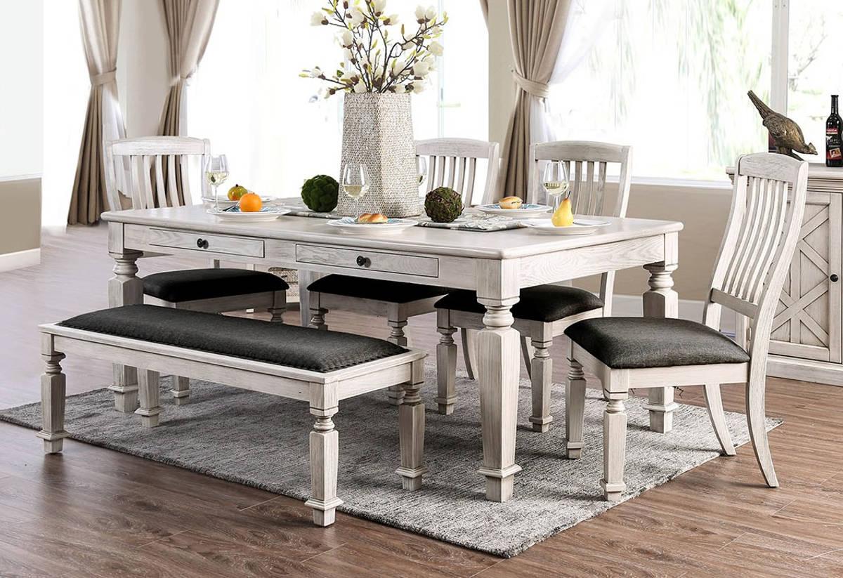 Furniture of America Georgia Antique White 6pc Dining Room Set