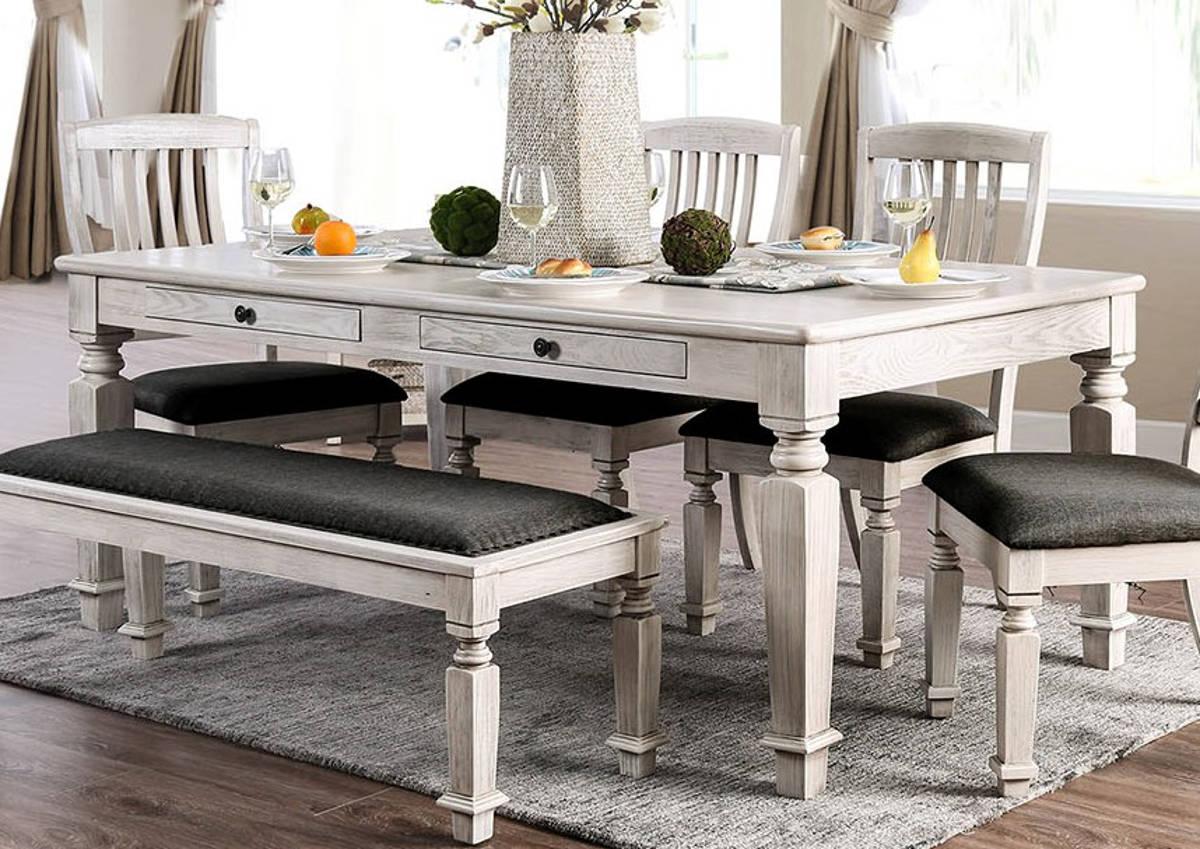 Furniture of America Georgia Antique White 7pc Dining Room Set