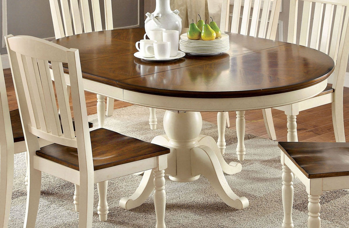 Furniture Of America Harrisburg Oval 18 Inch Leaf Dining Table The