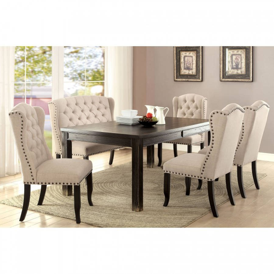 Super Furniture Of America Sania I 6Pc Dining Room Set With 72 Inch Table Ncnpc Chair Design For Home Ncnpcorg
