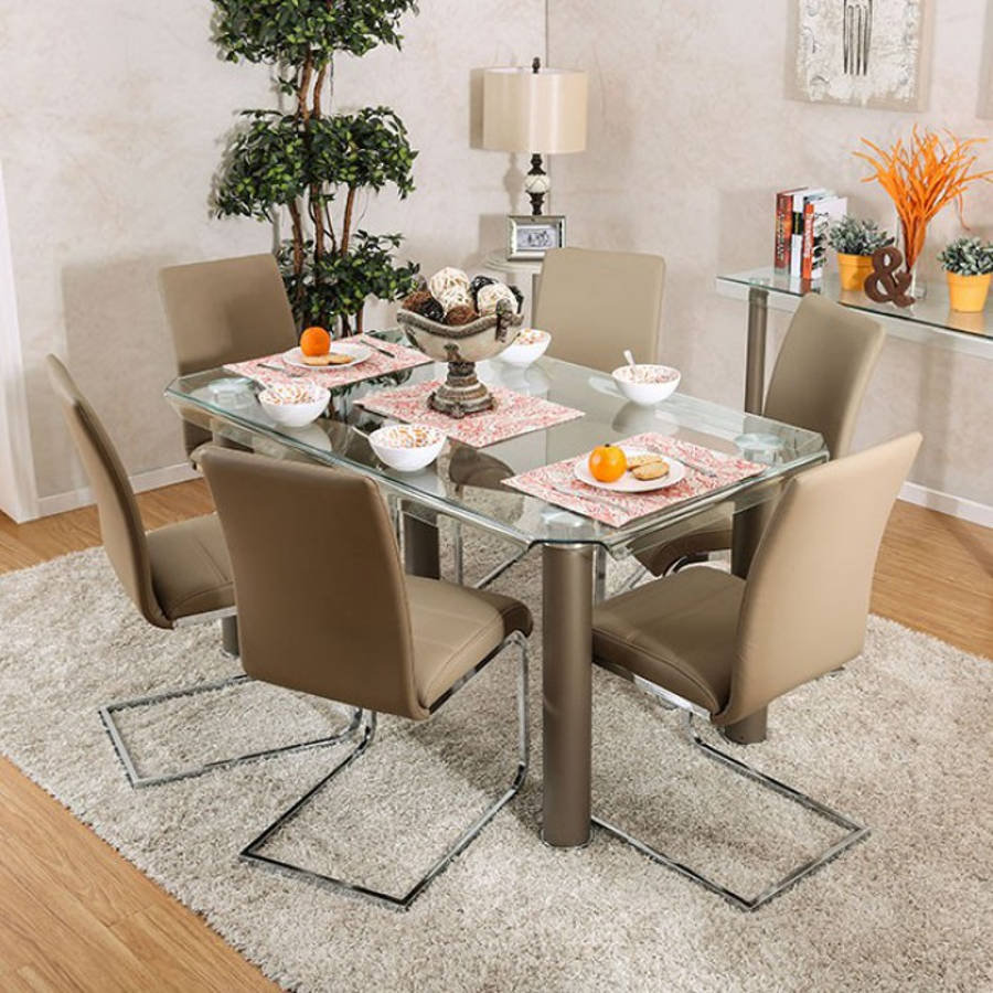Furniture Of America Walkerville I Champagne 7pc Dining Room Set | The  Classy Home