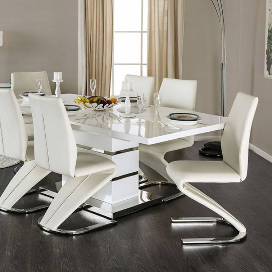 Midvale White Chrome Metal Solid Wood Dining Table