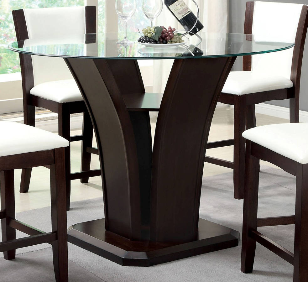 Hot Deal. Deal Of Day. Daily Deal. Discontinued. Manhattan III Walnut Solid  Wood Glass Top Round Counter Height Table