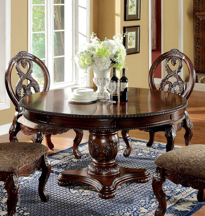 Furniture of America Tuscany I Antique Cherry Round Dining Table