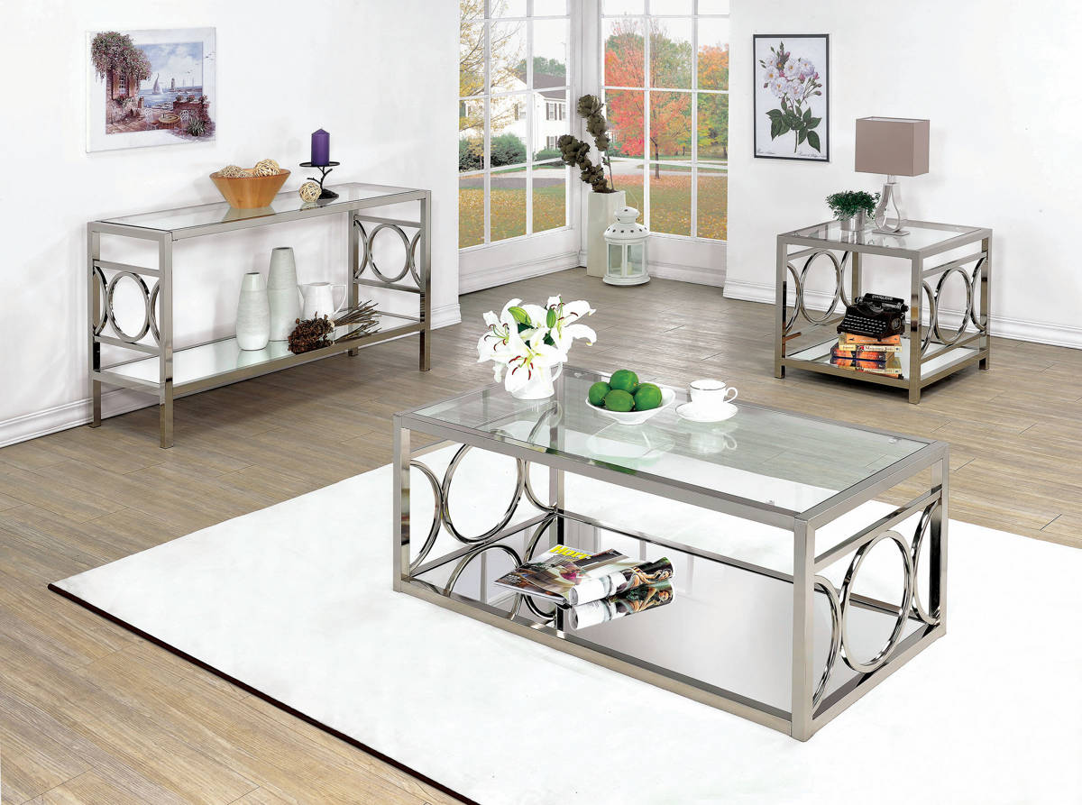 Furniture of america rylee 3pc coffee table set the for Furniture of america coffee table sets