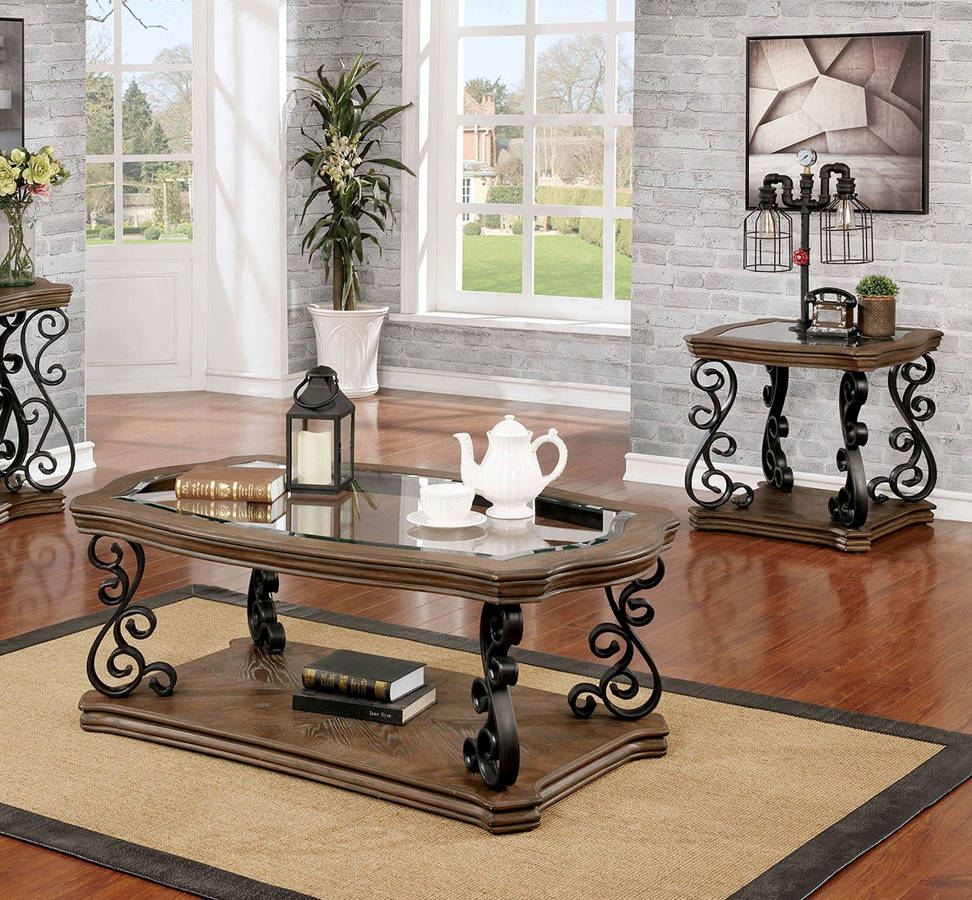 Furniture Of America Yesenia Natural Tone 3pc Coffee Table Set The Cly Home