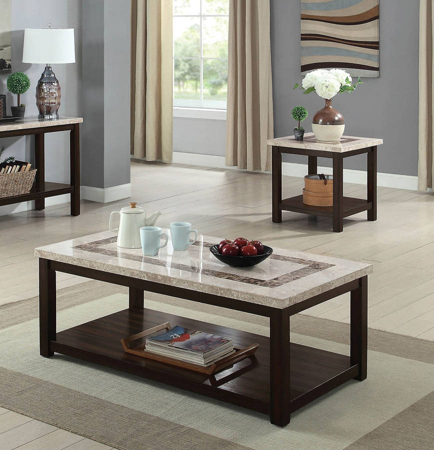 Furniture Of America Rosetta Dark Walnut 3pc Coffee Table Set