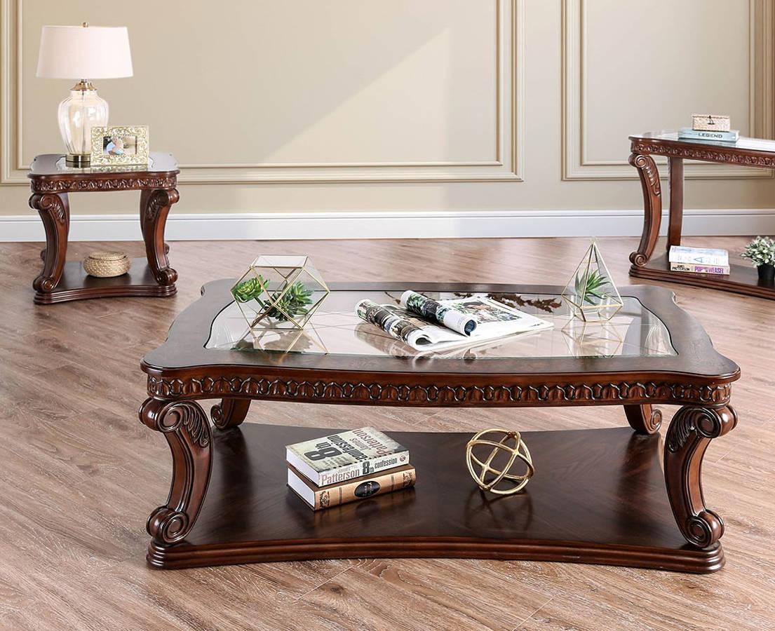 Furniture Of America Walworth Dark Oak 3pc Coffee Table Set