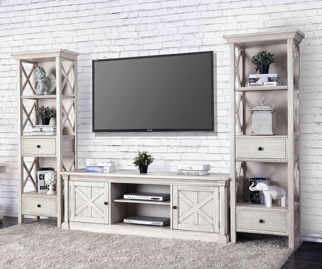 Furniture Of America Georgia Antique White Entertainment Center With 72 Inch Tv Stand The Cly Home