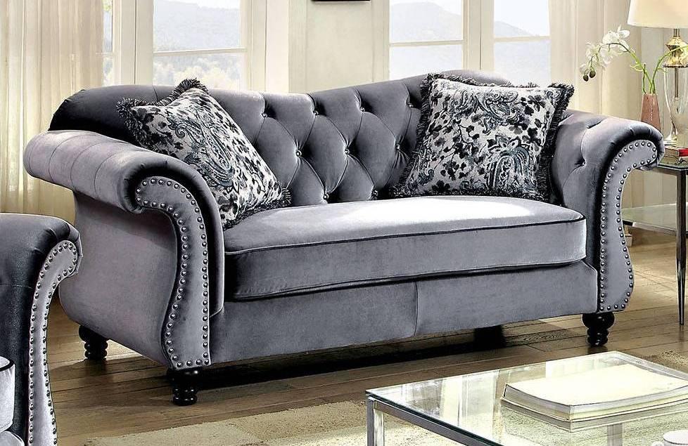 Furniture Of America Jolanda Gray Loveseat The Classy Home