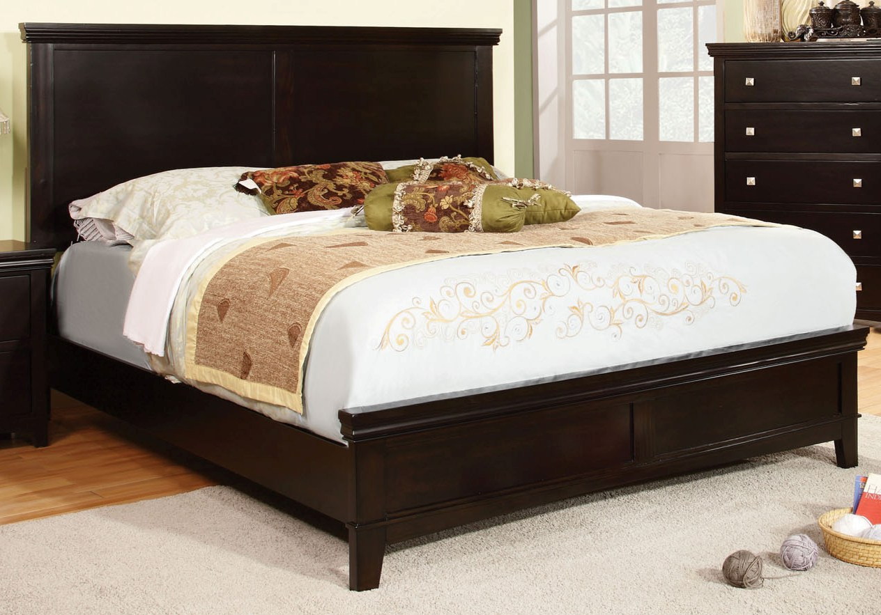 Furniture of america spruce espresso king bed the classy for Furniture of america king bed