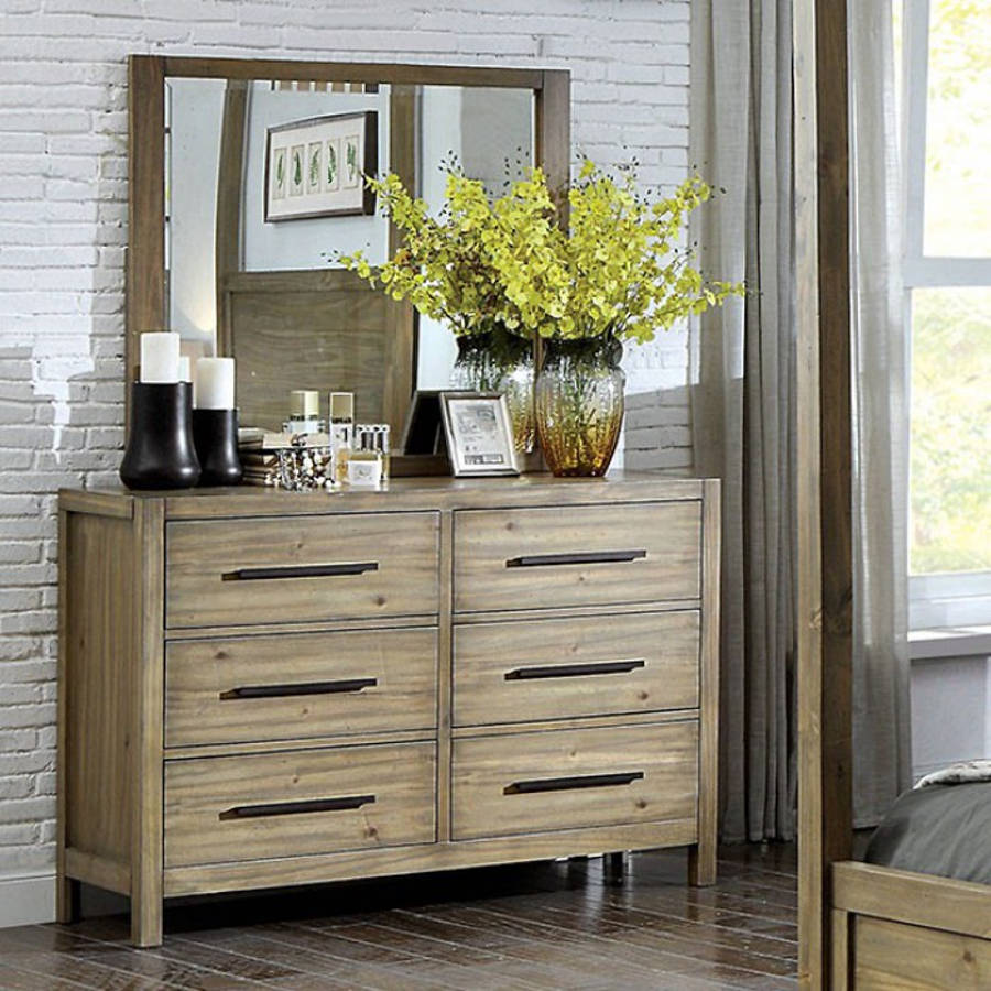 Furniture Of America Garland Light Oak Dresser And Mirror The Cly Home