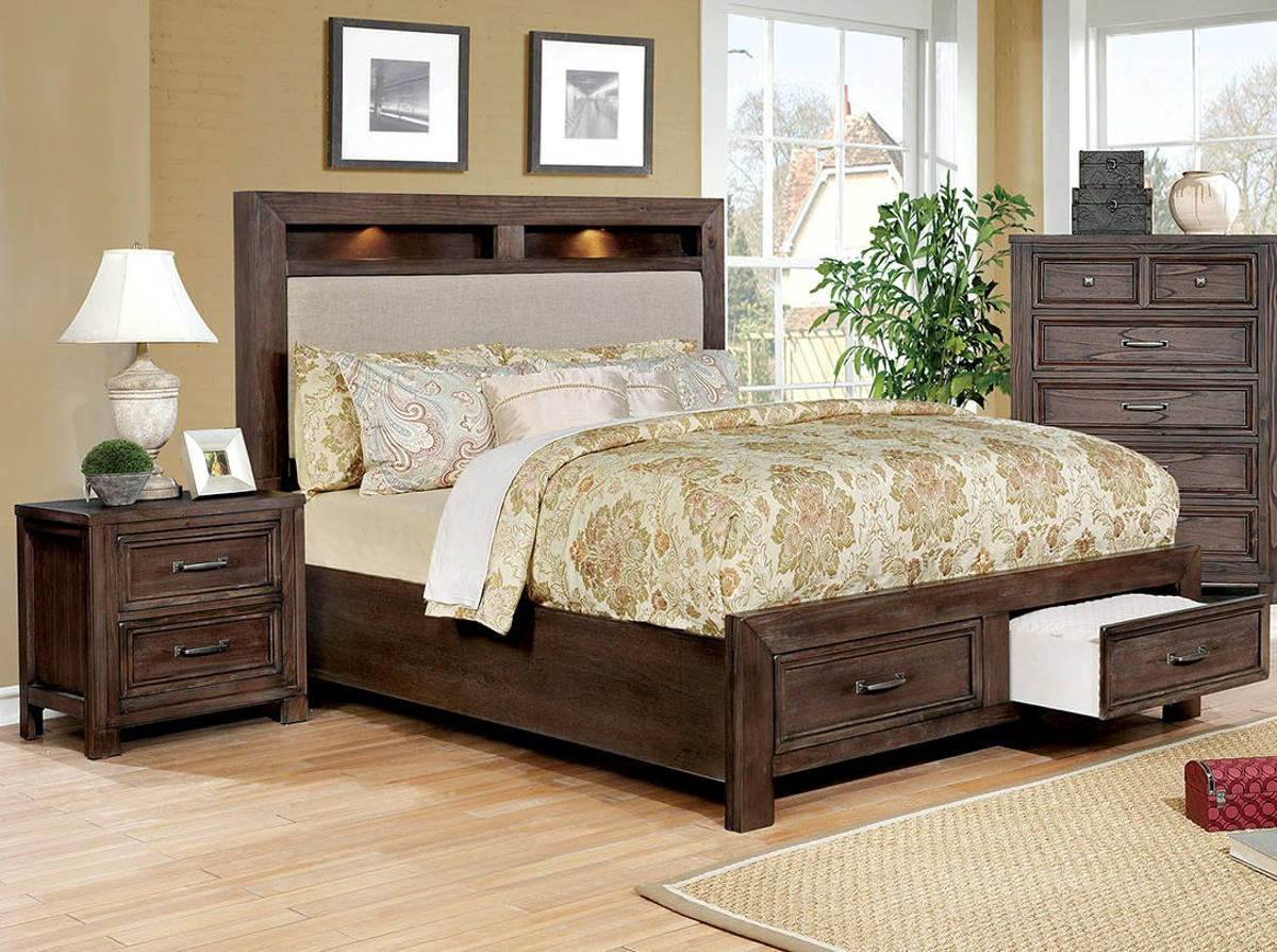 Furniture of America Tywyn Dark Oak 2pc Bedroom Set with King Bed