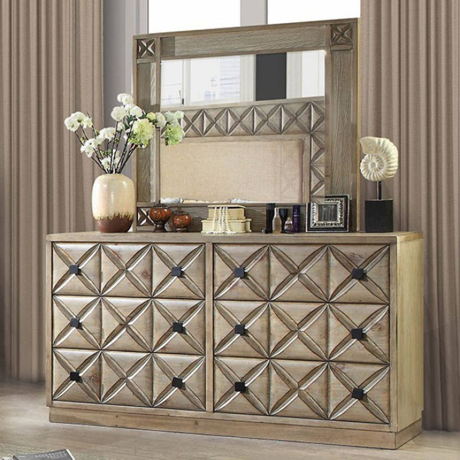 Furniture Of America Markos Light Oak Dresser And Mirror The Cly Home