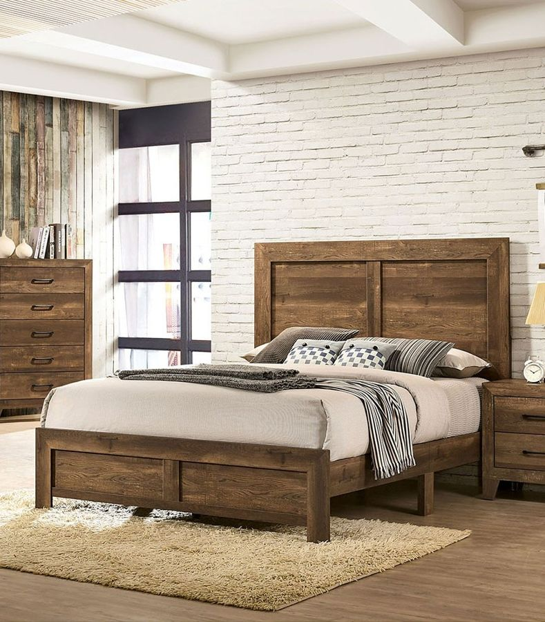 Furniture of America Wentworth Rustic Light Walnut Queen Bed