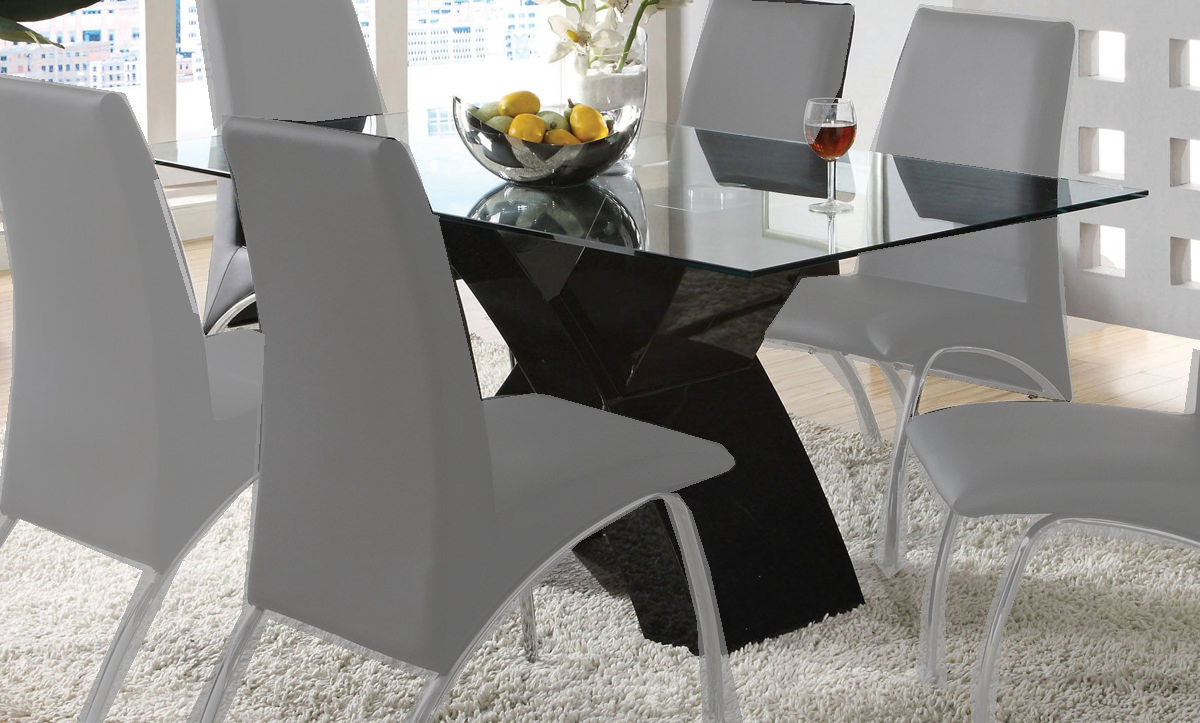Furniture Of America Wailoa Black Dining Table With Clear Gl Top