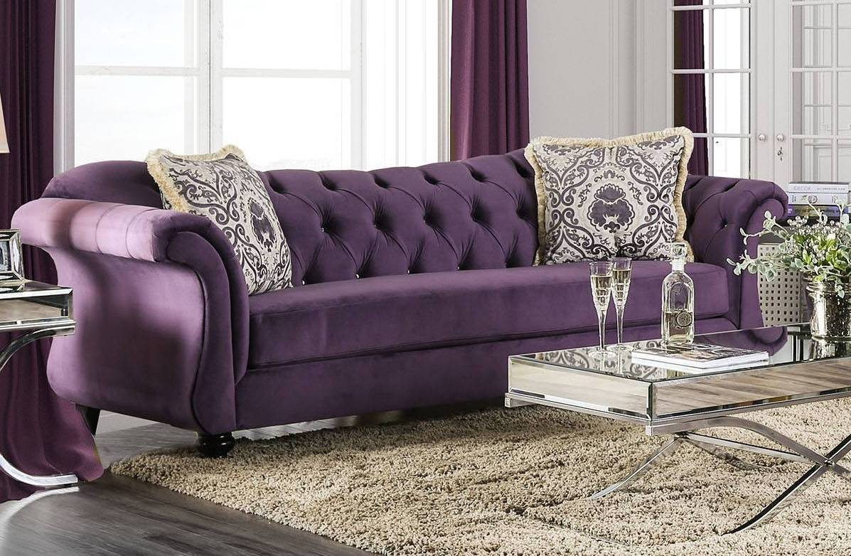 Terrific Furniture Of America Antoinette Purple Sofa The Classy Home Theyellowbook Wood Chair Design Ideas Theyellowbookinfo