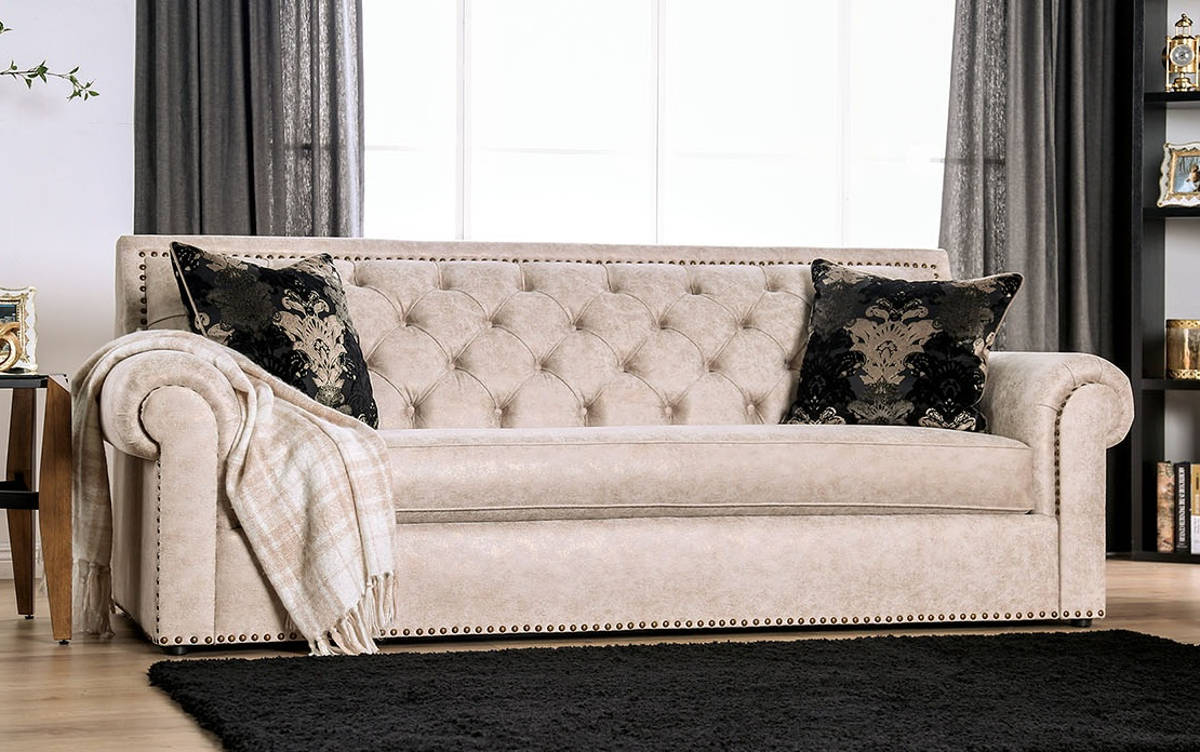 Furniture of America Parshall Beige Gold Sofa