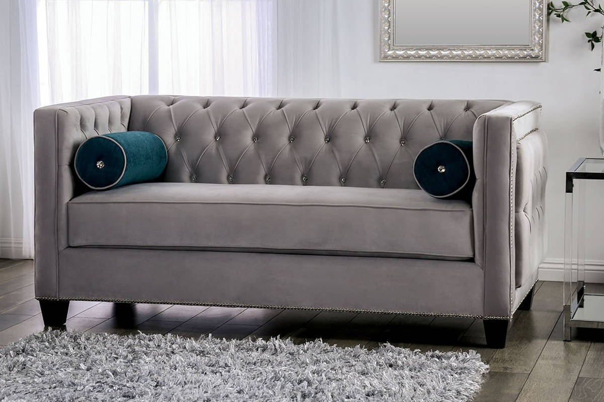 Remarkable Furniture Of America Silvan Gray Loveseat Gamerscity Chair Design For Home Gamerscityorg