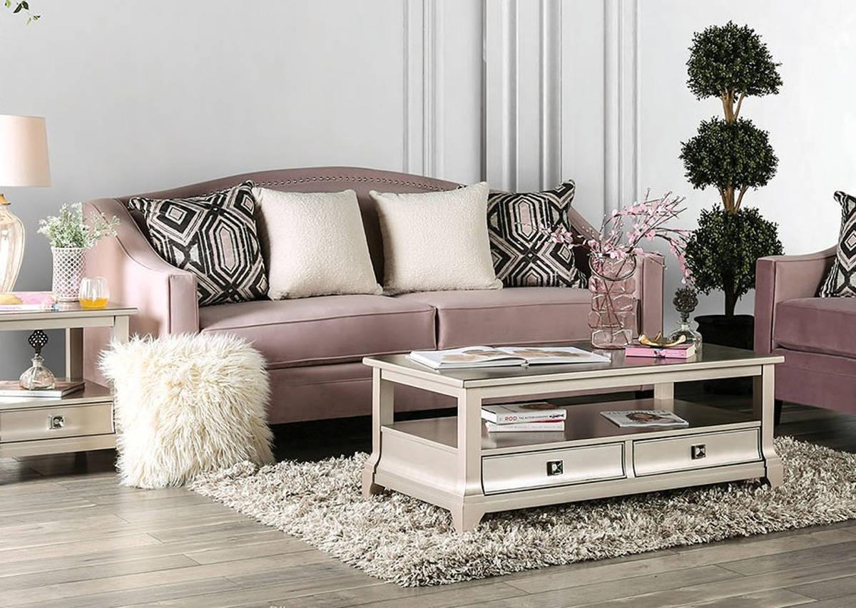 Furniture Of America Campana Blush Pink Sofa