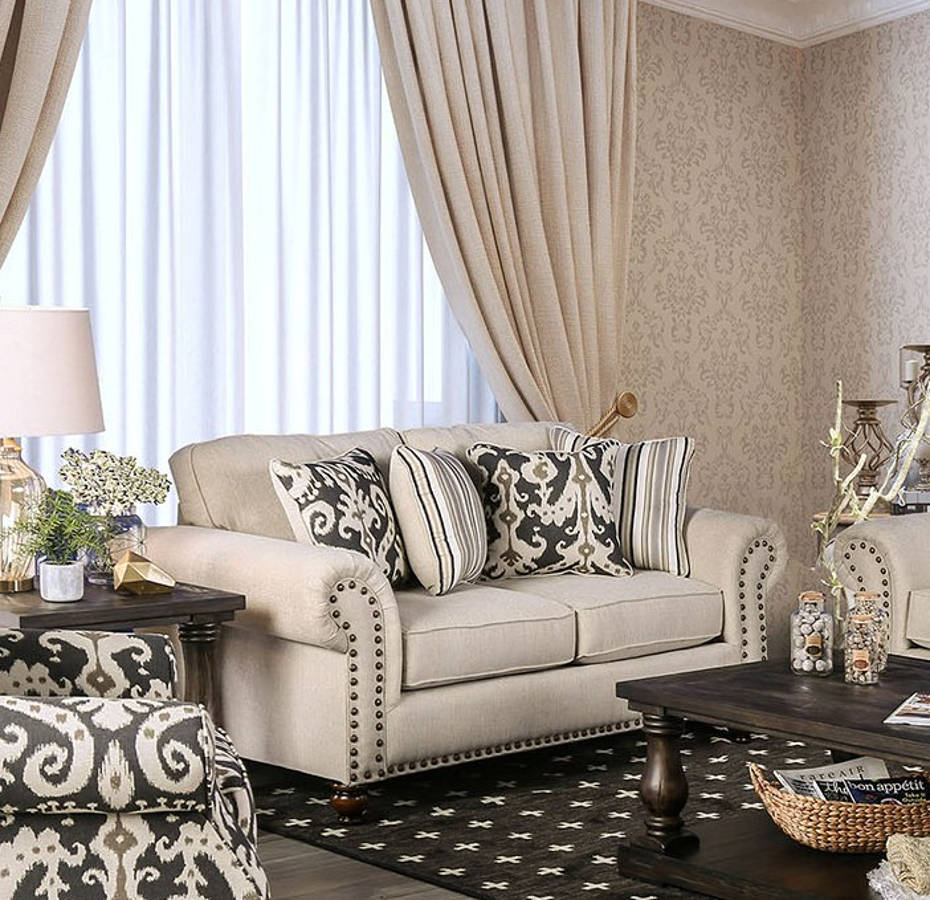 Tremendous Furniture Of America Calloway Ivory Loveseat Gmtry Best Dining Table And Chair Ideas Images Gmtryco