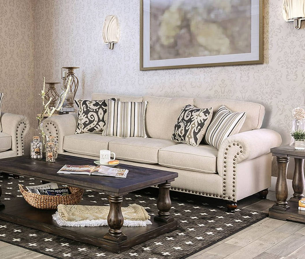 Fantastic Furniture Of America Calloway Ivory Sofa Short Links Chair Design For Home Short Linksinfo