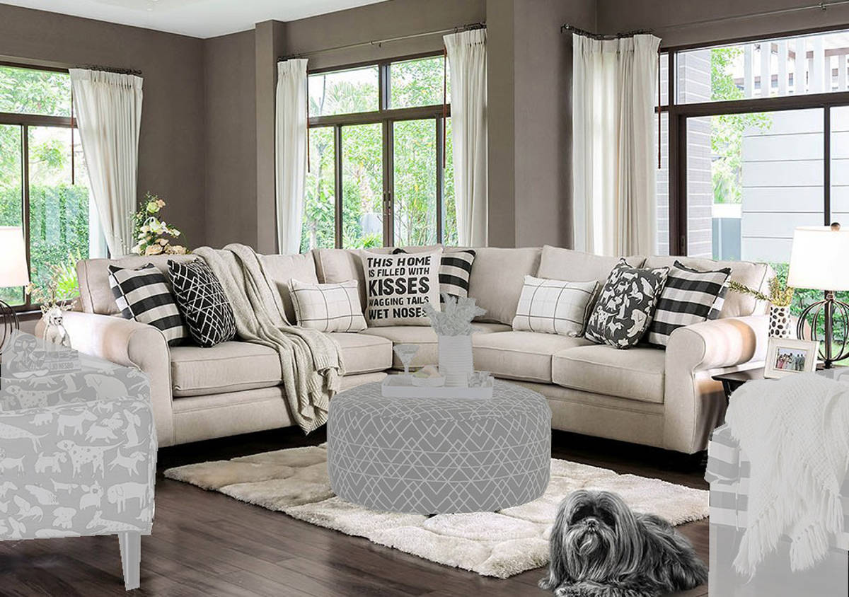 Furniture of America Patricia Ivory Sectional