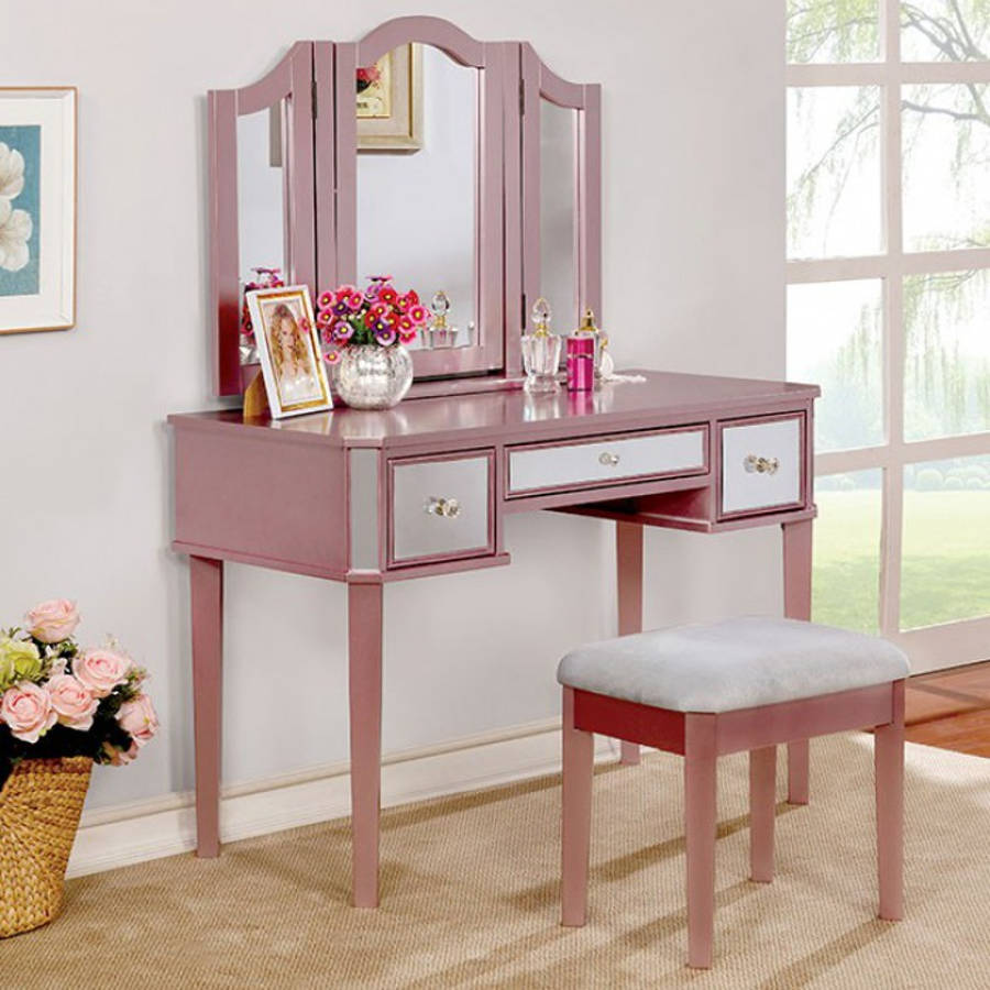Furniture of america clarisse rose gold vanity with stool the classy home