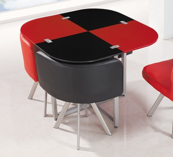 Red Black Metal Gl Square Dining Table The Cly Home