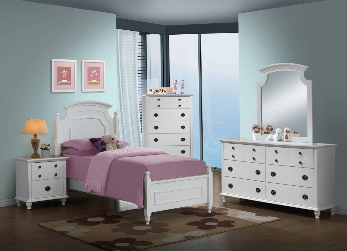 Leila White 4pc Bedroom Set w/Twin Bed GL-LEILA-WH-TB-BX-S